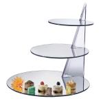 "Cal-Mil MT220 21"" 3-step Round Gourmet Mirror Riser - Mirror, Black, Acrylic"