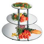 "Cal-Mil MT300 3-Tier Round Gourmet Mirror Riser - Mirror, 30-1/2x24-3/4"", Black, Acrylic"