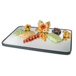 "Cal-Mil RR243 Rectangular Gourmet Display Mirror Tray - 24x18"", Glass, Black"