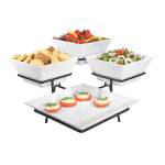 Cal-Mil SR1020-13 3 Tier Gourmet Quad Platter Bowl Display - Melamine, Black