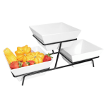 Cal-Mil SR2030-13 2 Tier Square Gourmet Bowl Display - Melamine, Black