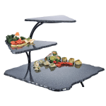 """Cal-Mil SS800-31 3 Tier Gourmet Faux Stone Serving Display - 20x30x18"""", Acrylic, Black"""