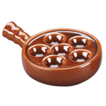 "Browne 744045 5.25"" Round Escargot Plate w/ Handle - 6-Holes, Ceramic, Brown"
