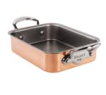 "Mauviel 6109.18 1.2-qt Rectangular Roaster - 7x3.9x1.8"", Stainless Interior/Copper Exterior"