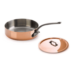 "Mauviel 6411.25 9.5"" Round M'150c Saute Pan w/ 3.2-qt Capacity & Brushed Stainless Handle, Lid"
