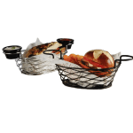 "American Metalcraft BNBC962 9"" Oblong Wire Basket w/ Ramekin Holder, Chrome"