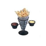 American Metalcraft FBC92 Conical French Fry Basket w/ 2-Ramekin, Wrought Iron/Black