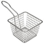 "American Metalcraft FRYS443 4"" Square Tabletop Fry Basket, Stainless"
