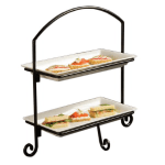 American Metalcraft IS11 2 Tier Rectangular Platter Stand w/ Curled Feet, Small, Wrought Iron/Black