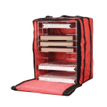 American Metalcraft PB1926 Deluxe Pizza Delivery Bag w/ Rack & 10-Box Capacity, Red/Black