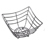 """American Metalcraft SCB480 8.25"""" Square Time Continuum Basket w/ Web Pattern & Balled Tip, Chrome"""