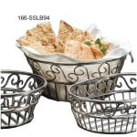 "American Metalcraft SSLB94 9"" Round Bread Basket w/ Scroll Design, Stainless"