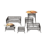 American Metalcraft SSRS8 6 Piece Square Riser w/ Scroll Design, Wrought Iron/Black