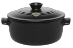 Emile Henry 714540 4-1/5 qt Ceramic Flame Top Round Stew Pot With Lid, Black