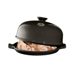 """Emile Henry 795508 13"""" Round Ceramic Bread Cloche w/ Domed Lid, Charcoal"""