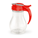 Vollrath 1414-02 16 oz Syrup Server - Red Plastic Cap, Poly, Clear