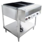 Vollrath 38002 2 Well Hot Food Table - Thermostat, Plate Rest, Cutting Board, 120v