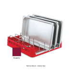 "Vollrath 52669 Open-End Dishwasher Rack with Insert - Full Size, 19-3/4x19-3/4"" Burgundy"
