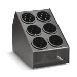 "Vollrath CTFWH-6B 6 Cylinder Flatware Holder - 10.12"" x 16"" x 12.63"", Plastic, Black"
