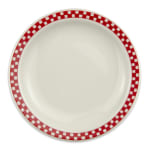 "Homer Laughlin 2135413 7.25"" Round Plate - China, Ivory w/ Red Checkers"