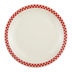 "Homer Laughlin 2245413 9"" Round Plate - China, Ivory w/ Red Checkers"