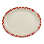 "Homer Laughlin 2605413 11.38"" Oval Platter - China, Ivory w/ Red Checkers"