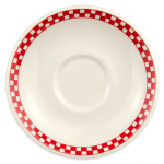 "Homer Laughlin 2825413 6"" Boston Saucer - China, Ivory w/ Red Checkers"