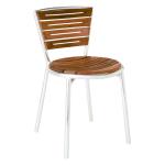 emu 1001 Karen Stacking Side Chair, Teak Slat Seat & Back, Aluminum