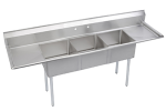 "Elkay SE3C24X24224X 120"" 3-Compartment Sink w/ 24""L x 24""W Bowl, 11"" Deep"