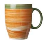"World Tableware CCT-30380 13-1/4 oz Mug - Ceramic, Non-Stackable, Terra Cotta, Green Rim, 4-3/8"""