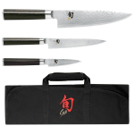 "Shun DMS0499 4-Piece Student Boxed Set 3.5"" Paring 6"" Utility 8"" Chefs Shun Knife Roll"