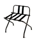 CSL 1055B-BL-BL-1 Luggage Rack w/ Black Straps & Luxury High Back, Black