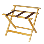 CSL 1077LT Wooden Luggage Rack w/ Brown Straps & High Back, Light Finish