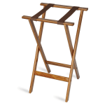 "CSL 1170 30"" Flat Tray Stand w/ 2-Brown Straps & Rounded Edge, Hardwood"