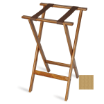 "CSL 1170NAT-1 30"" Flat Tray Stand w/ 2 Brown Straps & Rounded Edge, Mahogany"
