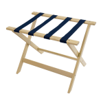 CSL 177WW-1 Luggage Rack w/ Navy Blue Straps, Deluxe Wooden, White Wash