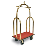 CSL 3533-BK-030-RED Upright Hotel Luggage Cart w/ Red Carpet, Gold