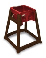 CSL 866RED High Chair Infant Seat w/ Red Seat, Dark Brown Frame