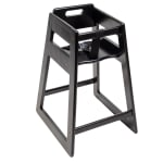 "CSL 900BL-KD 27.5"" Stackable High Chair w/ Waist Strap - Rubber Wood, Black"
