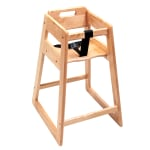 "CSL 900LT-KD 27.5"" Stackable High Chair w/ Waist Strap - Rubber Wood, Light Oak"