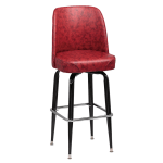 Royal Industries ROY 7714 CRM Black Square Frame Bar Stool w/ Crimson Vinyl Bucket Seat