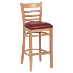 Royal Industries ROY 8002 N CRM Ladder Back Bar Stool w/ Natural Finish & Crimson Upholstered Seat