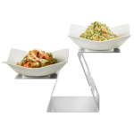 Rosseto SM282 2-Tier Display Riser Set w/ (2) Square Melamine Bowls, Stainless