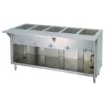 """Duke E-5-CBSS 120 60"""" Steamtable w/ Stainless Body, Undershelf & 5-Sealed Wells, 120 V"""