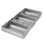 "Chicago Metallic 47125 Rye Bread/Miche Pan, Holds (3) 7"" x 11.5"" Pans, AMERICOAT Glazed 22-ga. Aluminized Steel"