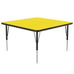 "Correll A3636-SQ 38 Square Activity Table w/ 1.25"" High Pressure Top, 36 x 36"", Yellow"