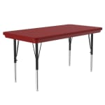 """Correll AR2448-REC 25 Free-Standing Activity Table, Adjusts to 30"""", 24 x 48"""", Red"""