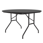 "Correll CF48MR 07 48"" Round Melamine Folding Table w/ 5/8"" High Density Top, Black Granite"