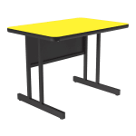 "Correll CS2436 28 26"" Desk Height Work Station w/ 1.25"" Top, 24 x 36"", Yellow/Black"