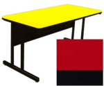 """Correll CS3072 25 26"""" Desk Height Work Station w/ 1.25"""" Top, 30 x 72"""", Red/Black"""